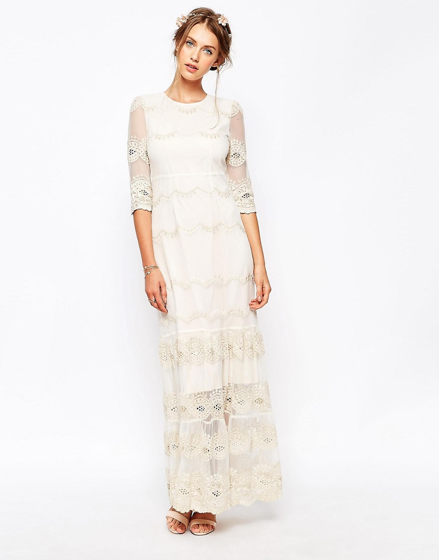 Image 1 of Soma London Vintage Scallop Lace Maxi Dress