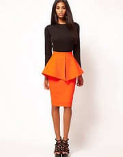 Aqua Bergman Structured Peplum Skirt
