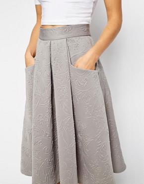 Image 3 ofCloset Full Skater Skirt in Baroque Embossed Scuba