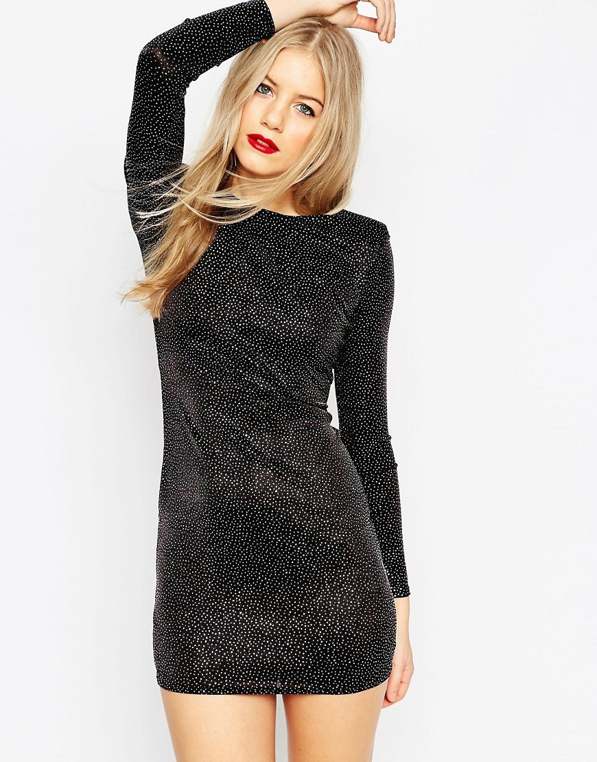 Image 1 of ASOS Shoulder Pad Deep Plunge Glitter Mini Bodycon Dress
