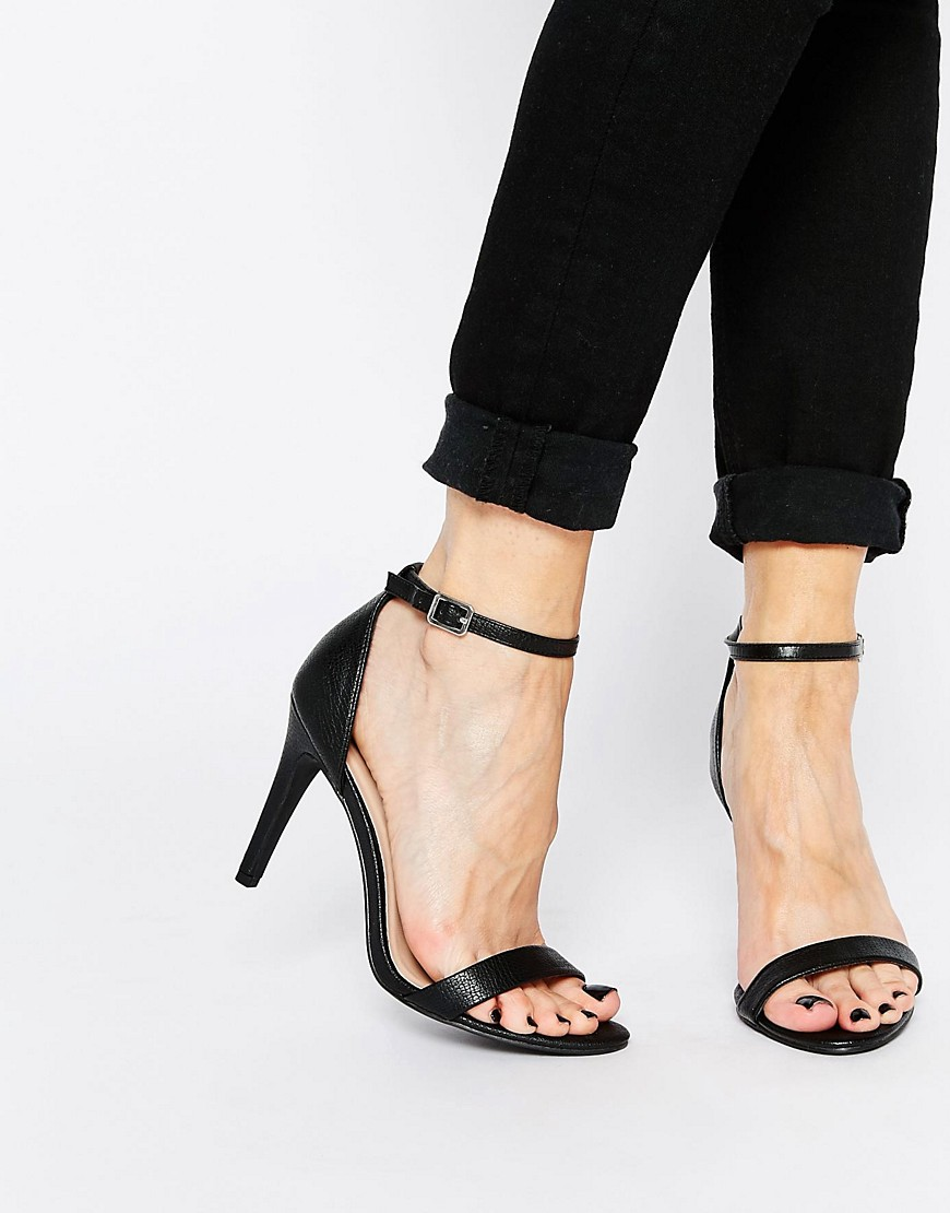 Image 1 of New Look Sensatory 2 Black Barely There Heeled Sandals
