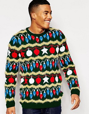 Image 1 of ASOS Christmas Jumper with Tinsel Design