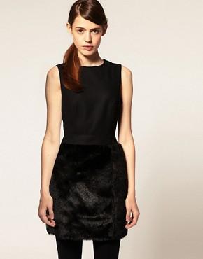 Image 1 ofASOS Wool Dress With Fur Skirt