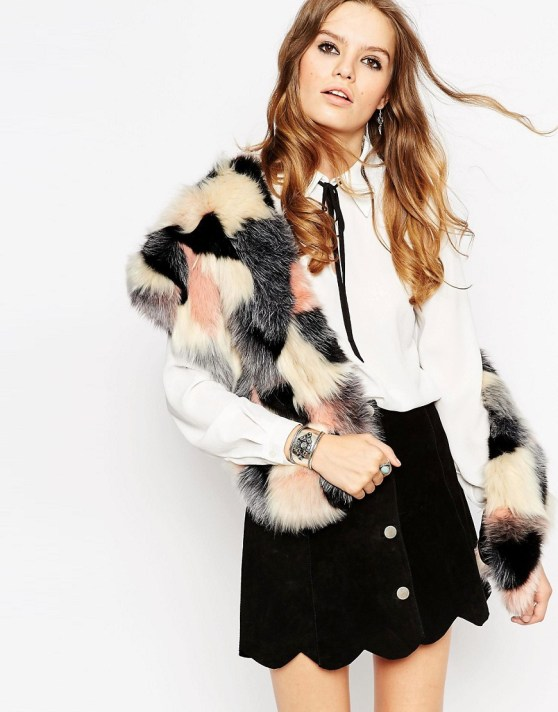Image 1 of ASOS Faux Fur Scarf In Pastel Patchwork Design