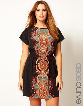 Image 1 of ASOS CURVE Exclusive Skater Dress With Baroque Print