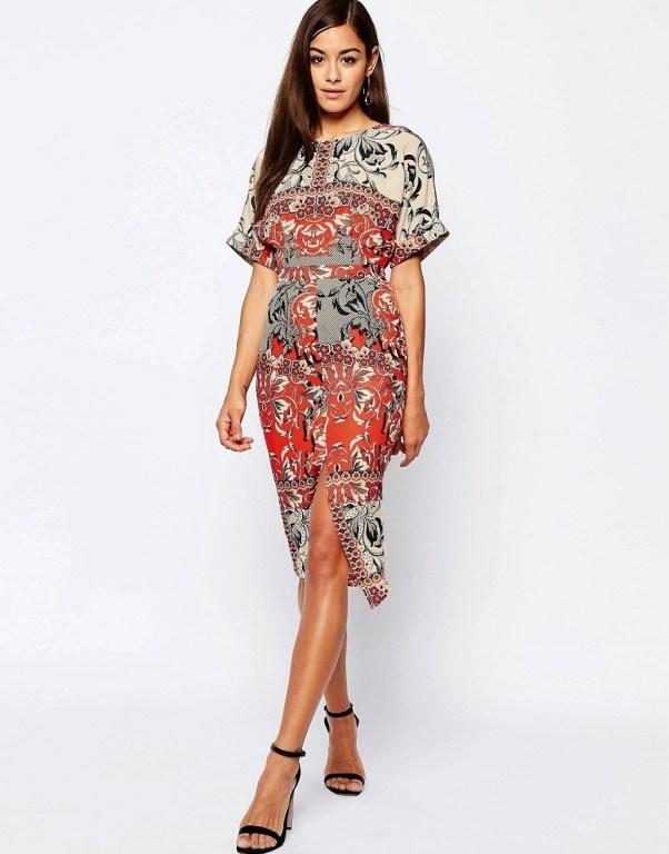 Image 1 ofASOS Split Front Wiggle Dress In Red Scarf Print