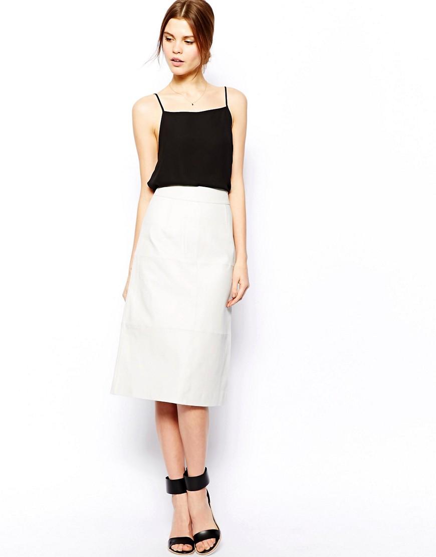 Image 1 ofASOS Column Pencil Skirt In Leather