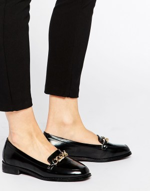 Asos Black Patent Loafers with chain detail for just $58