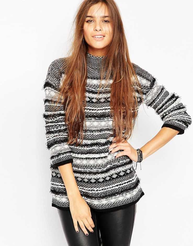 ASOS Premium Sweater in Fairisle Stripe