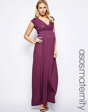 Vestido largo drapeado con lazo exclusivo de ASOS Maternity