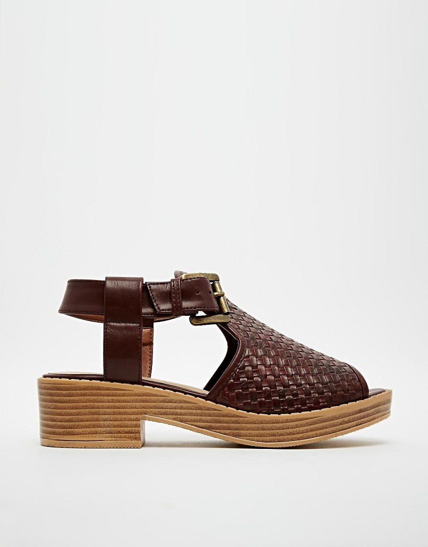 Image 2 of ASOS FOOLED YOU Woven Peep Toe Sandals
