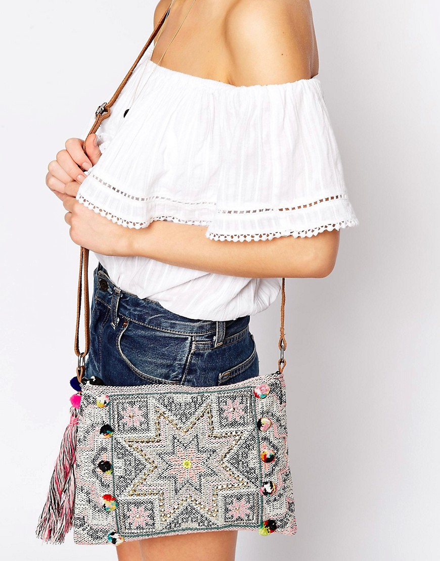 Image 3 ofWarehouse Star Embroidered Clutch