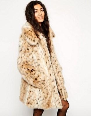 Image 1 ofASOS Faux Fur Leopard Print Coat