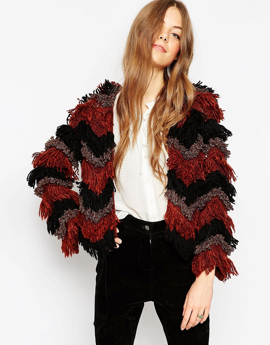 Image 1 of ASOS Premium Cardigan With Chevron Fringing