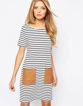 Image 1 of Vila Striped T-Shirt Dress With Patch Pocket