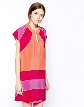 See By Chloe - Robe à manches courtes en soie color block - Rose multicolore Image