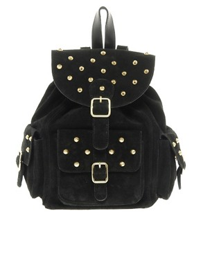 Image 1 of ASOS Suede Studded Backpack