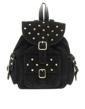 Image 1 ofASOS Suede Studded Backpack