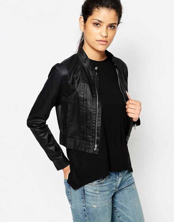 3x1 Cropped Leather Look Jacket - Onyx