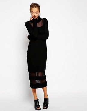 Image 4 of ASOS Jumper Dress With Roll Neck And Sheer Inserts