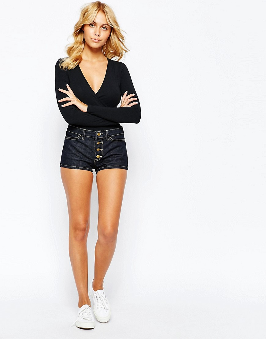 Image 1 ofAmerican Apparel Mid Rise Denim Shorts With Button Front