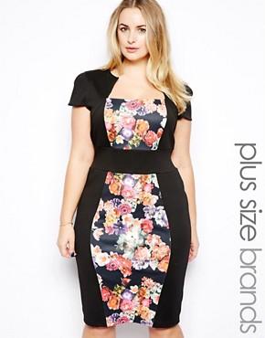 Vestido de tubo con paneles florales de Lipstick Boutique Plus