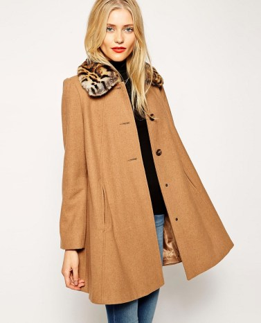 Swing Coat with Contrast Faux Fur Collat £85 from ASOS