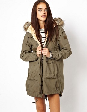 Изображение 1 из River Island Borg Linged Parka With Detachable Hood