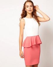 A Wear Contrast Peplum Dress