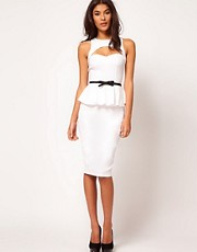ASOS Peplum Dress With Bow Belt