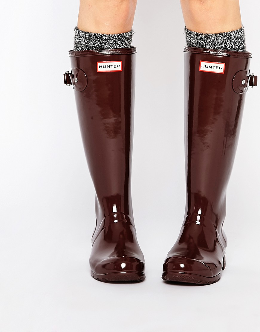 Hunter Original Tour Gloss Umber Wellington Boots
