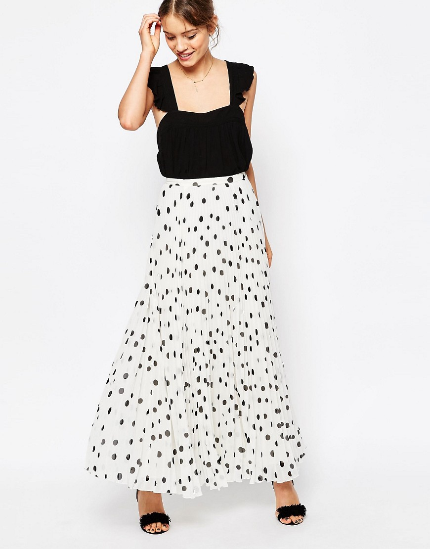 Image 1 of ASOS Pleated Maxi Skirt in Polka Dot