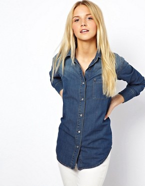 Image 1 of ASOS Denim Shirt in Dark Vintage Wash