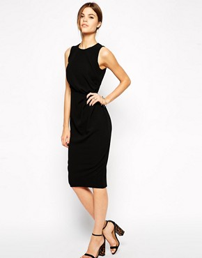 Image 1 of ASOS Pencil Dress in Crepe with Drape Detail