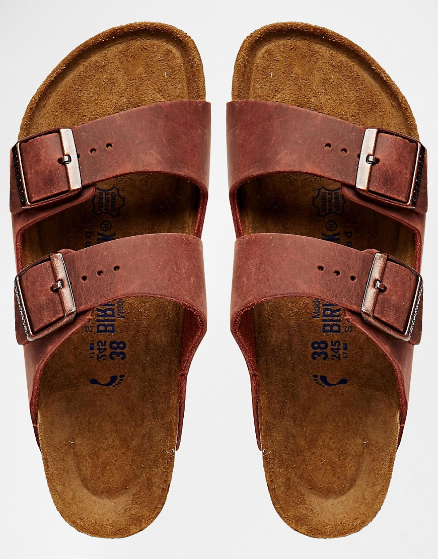 Image 3 of Birkenstock Arizona Henna Leather Regular Fit Flat Sandals