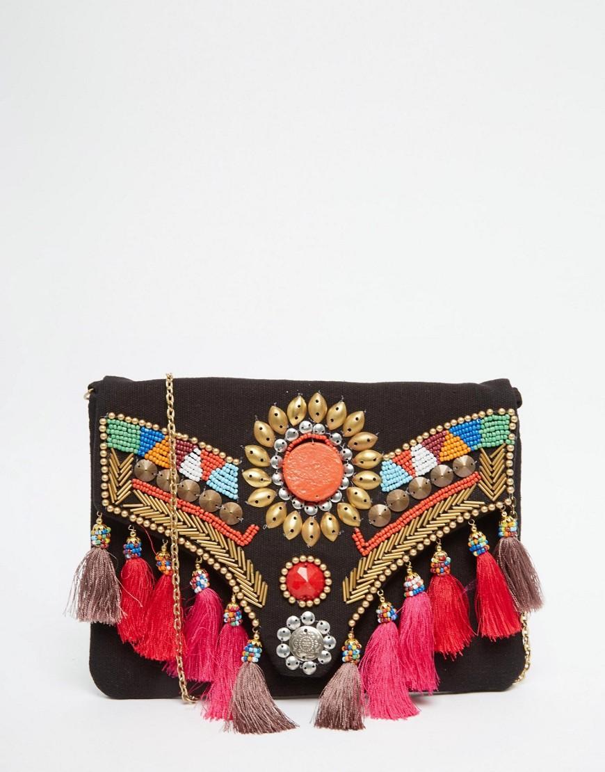 Image 1 - Glamorous - Pochette à rabat avec pompons et perles