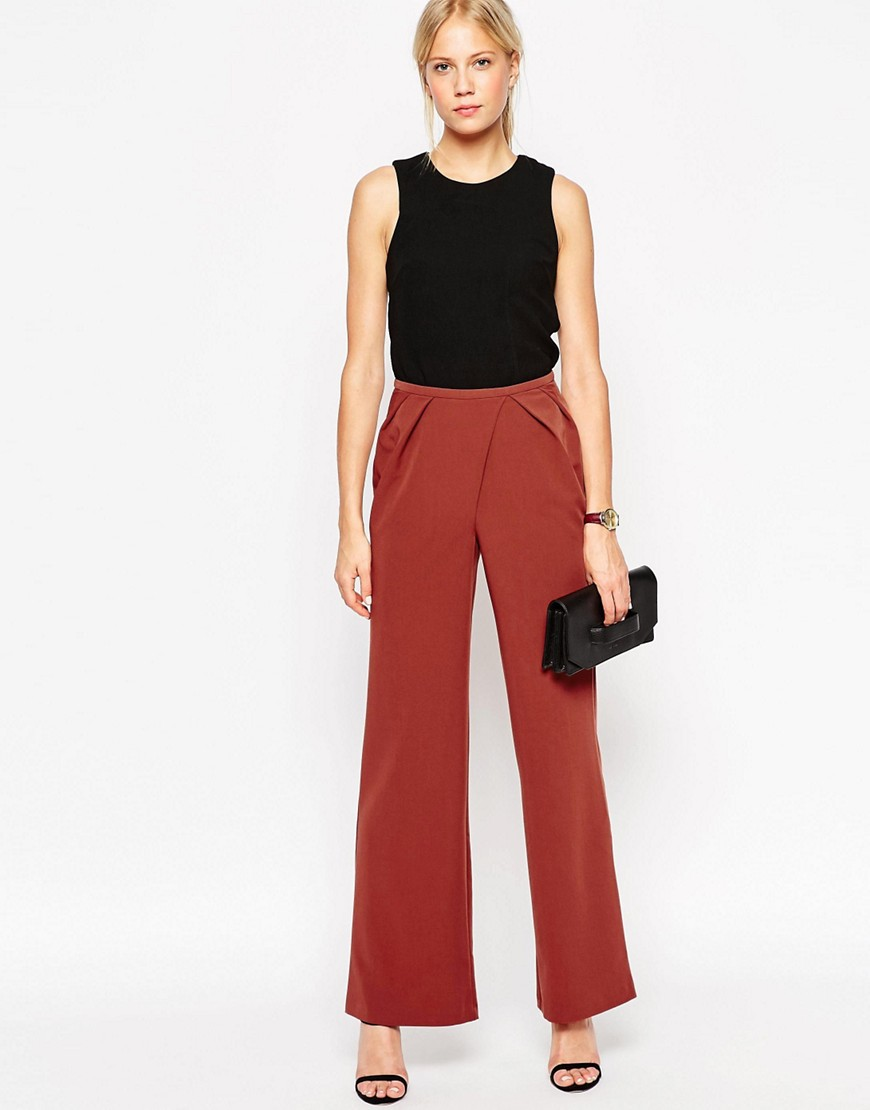 Image 1 ofASOS Woven Wide Leg Trousers with Pleated Waist