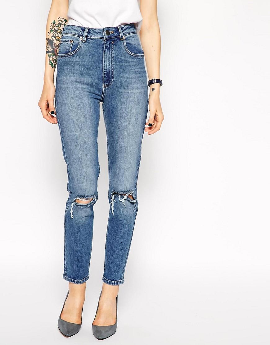 Bild 1 von ASOS – Farleigh – Figurbetonte Mom-Jeans mit hoher Taille in Vintage-Waschung mit Rissen am Knie