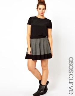 ASOS CURVE Skater Skirt In Color Block