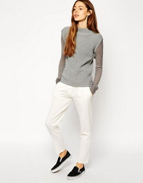 Image 4 of ASOS Jumper With Funnel Neck And Fine Knit Sleeve