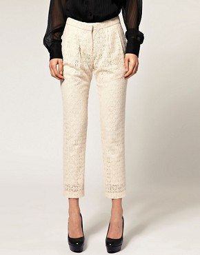 Image 4 of ASOS Lace Pants With Pleated Front