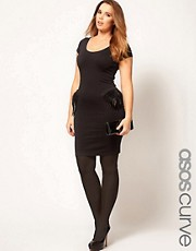ASOS CURVE Exclusive Peplum Dress With Feathers