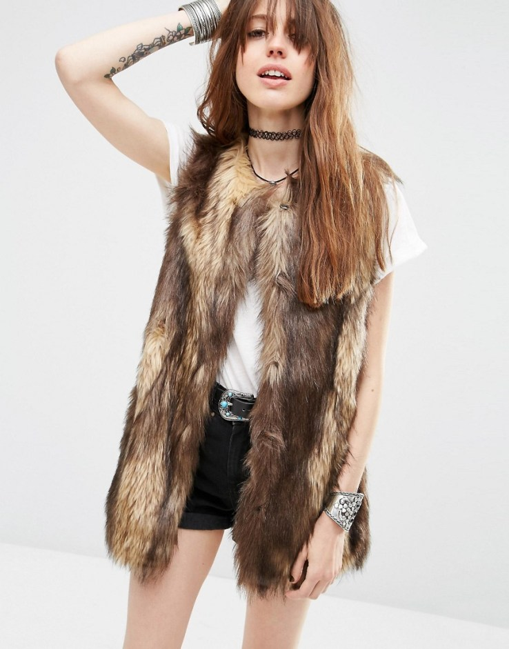 ASOS Longline Vest In Vintage Faux Fur - Brown