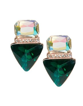 Image 1 of ASOS Jewelled Triangle Stud Earrings