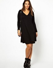 Image 4 of ASOS CURVE Exclusive Swing Dress With V-Neck And Long Sleeve