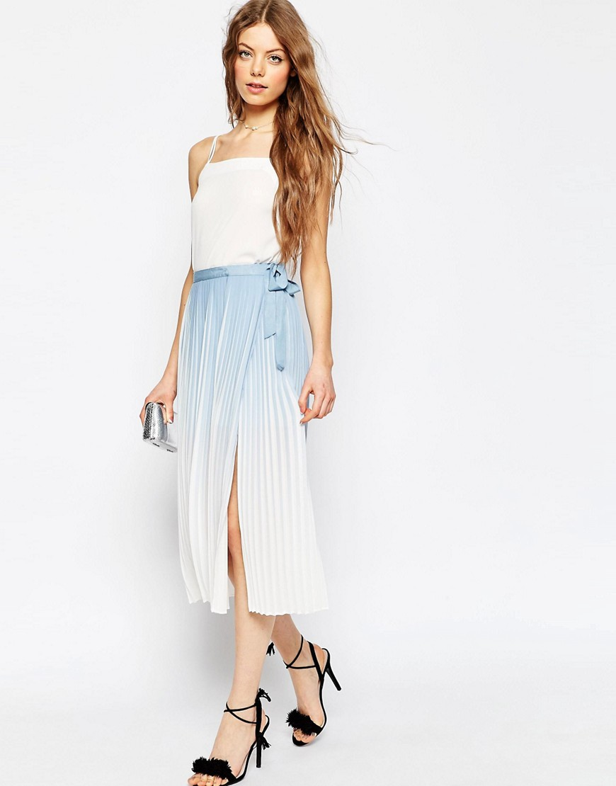 Image 1 of ASOS Pleated Midi Wrap Skirt in Ombre Print