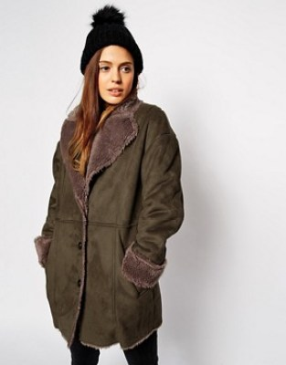 Image 1 ofASOS Faux Fur Coat In Vintage Shearling