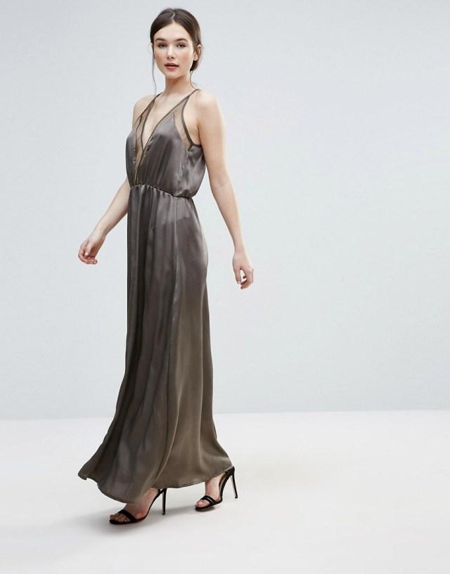 Amy Lynn Satin And Mesh Maxi Slip Dress, $33.0