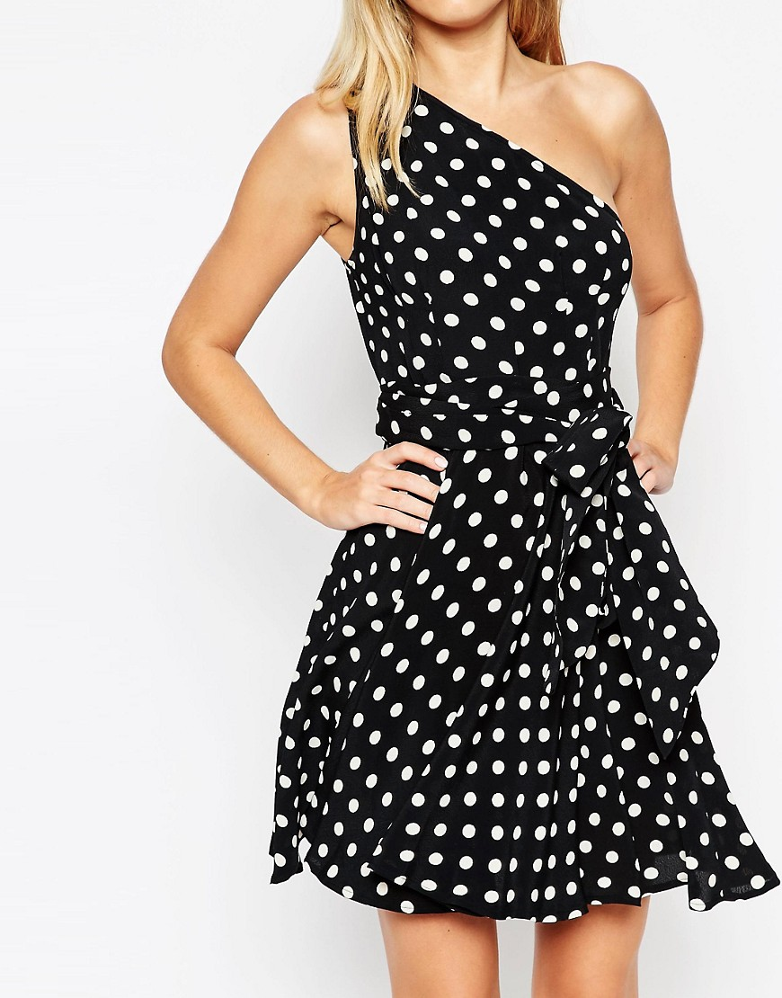 Image 3 ofASOS One Shoulder Spot Mini Dress