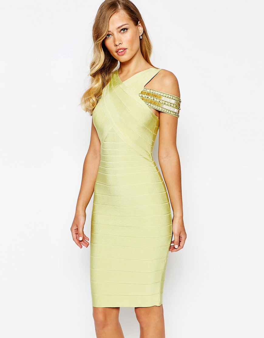 Image 1 of Forever Unique Suki Cross Front Luxe Bandage Bodycon Dress With Off Shoulder Detail